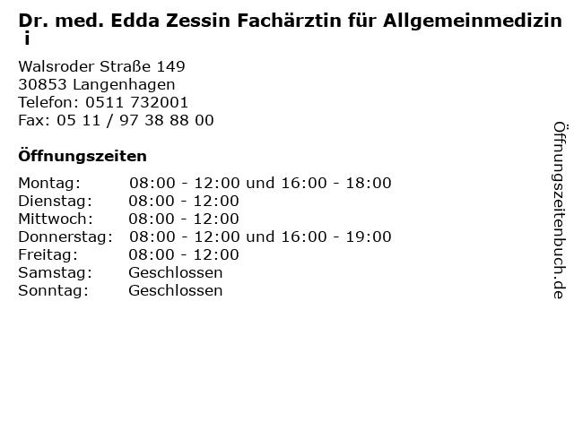Dr. med. Edda Zessin Fachärztin für Allgemeinmedizin i in Langenhagen: Adresse und Öffnungszeiten