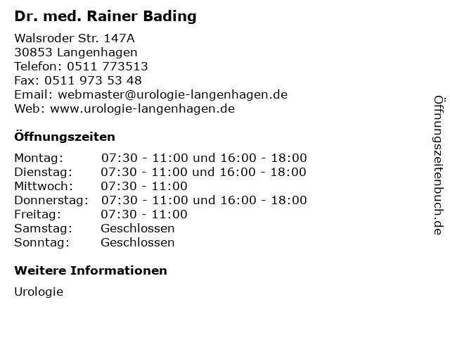Dr. med. Rainer Bading in Langenhagen: Adresse und Öffnungszeiten