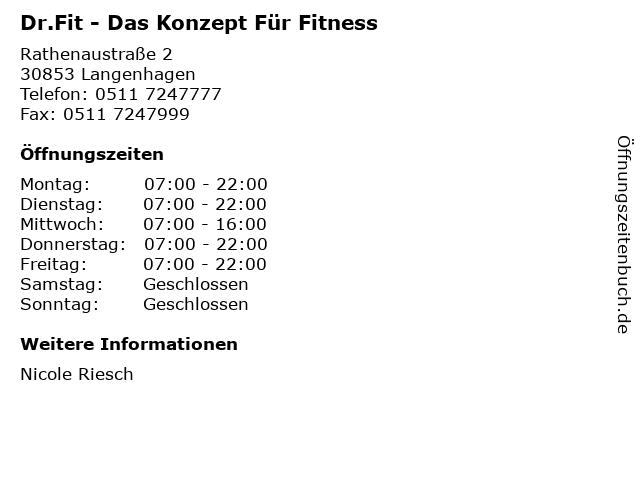 Dr.Fit - Das Konzept Für Fitness in Langenhagen: Adresse und Öffnungszeiten
