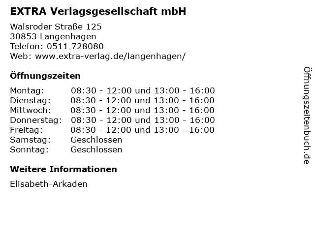 EXTRA Verlagsgesellschaft mbH in Langenhagen: Adresse und Öffnungszeiten