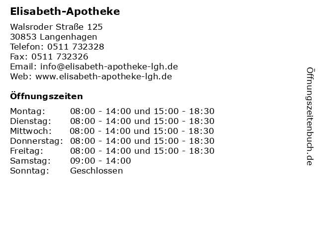 Elisabeth-Apotheke in Langenhagen: Adresse und Öffnungszeiten