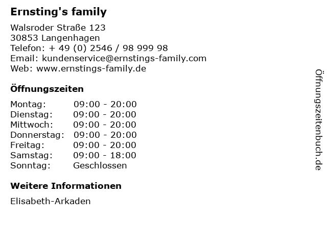 Ernsting's family in Langenhagen: Adresse und Öffnungszeiten