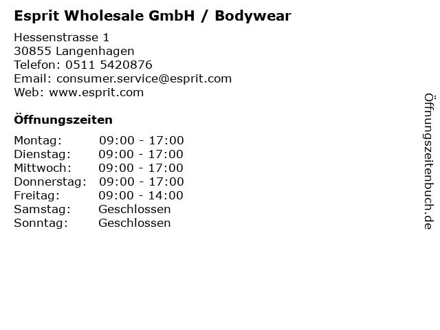 Esprit Wholesale GmbH / Bodywear in Langenhagen: Adresse und Öffnungszeiten