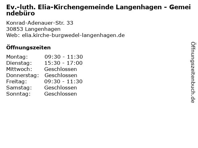 Ev.-luth. Elia-Kirchengemeinde Langenhagen - Gemeindebüro in Langenhagen: Adresse und Öffnungszeiten