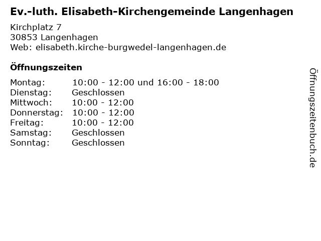 Ev.-luth. Elisabeth-Kirchengemeinde Langenhagen in Langenhagen: Adresse und Öffnungszeiten