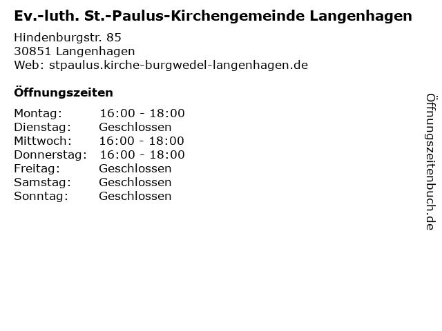 Ev.-luth. St.-Paulus-Kirchengemeinde Langenhagen in Langenhagen: Adresse und Öffnungszeiten