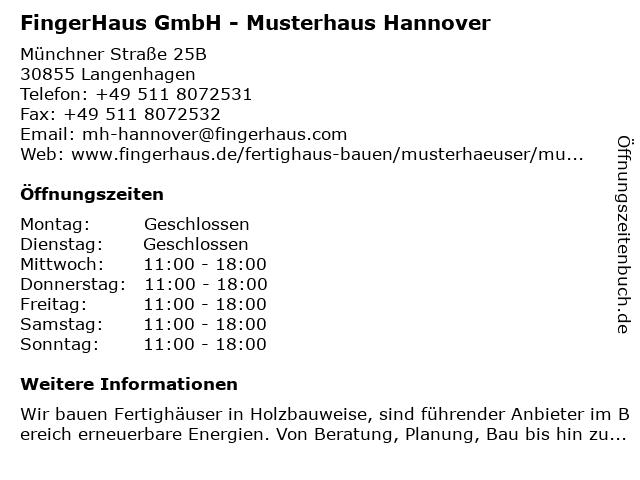 FingerHaus GmbH - Musterhaus Hannover in Langenhagen: Adresse und Öffnungszeiten