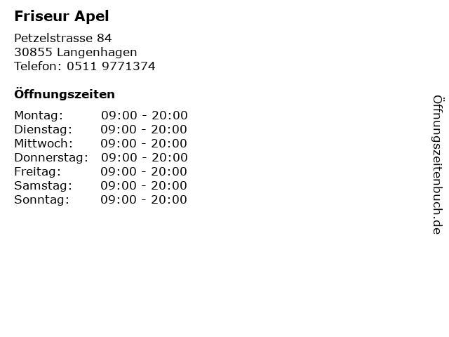 Friseur Apel in Langenhagen: Adresse und Öffnungszeiten