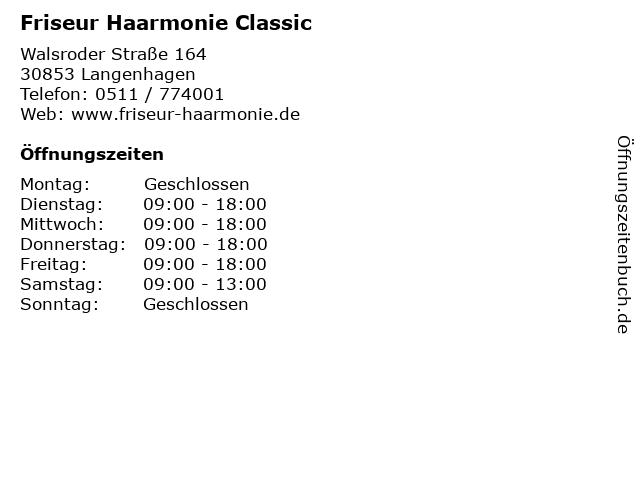 Friseur Haarmonie Classic in Langenhagen: Adresse und Öffnungszeiten