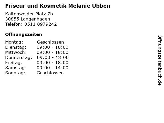Friseur und Kosmetik Melanie Ubben in Langenhagen: Adresse und Öffnungszeiten