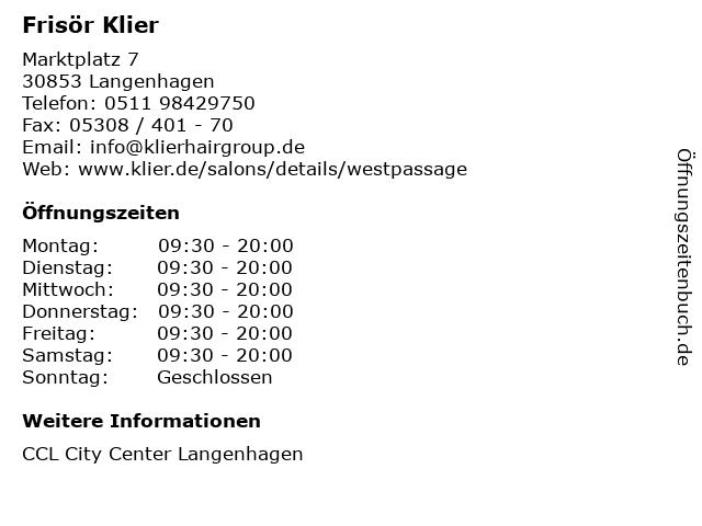 Frisör Klier in Langenhagen: Adresse und Öffnungszeiten