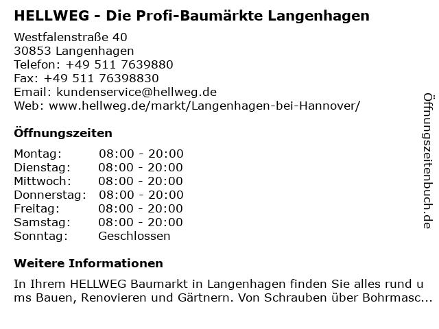 HELLWEG - Die Profi-Baumärkte Langenhagen bei Hannover in Langenhagen: Adresse und Öffnungszeiten