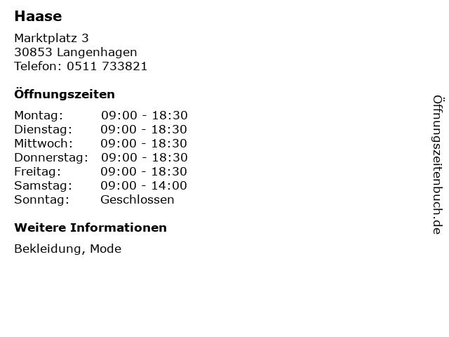 Haase in Langenhagen: Adresse und Öffnungszeiten