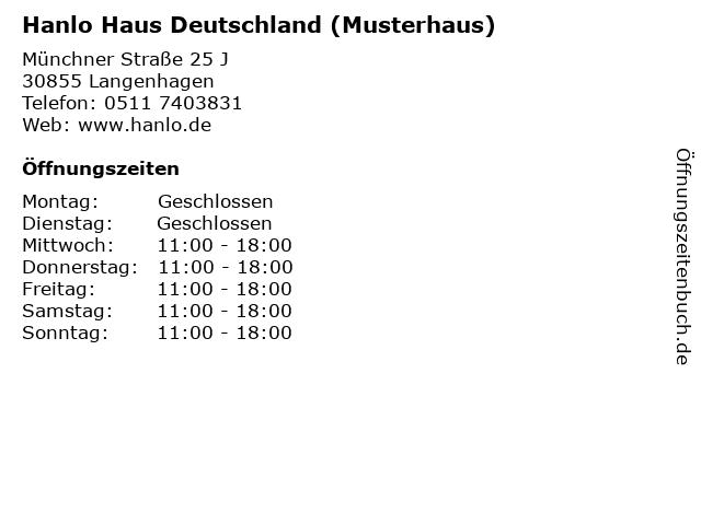 Hanlo Haus Deutschland (Musterhaus) in Langenhagen: Adresse und Öffnungszeiten