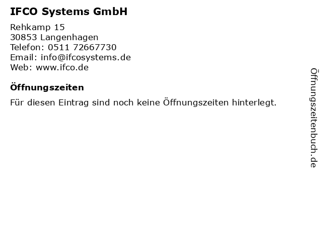 IFCO Systems GmbH in Langenhagen: Adresse und Öffnungszeiten