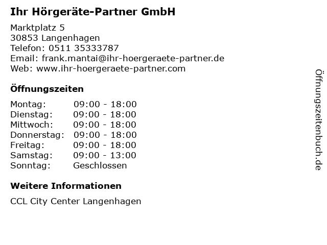 Ihr Hörgeräte-Partner GmbH in Langenhagen: Adresse und Öffnungszeiten