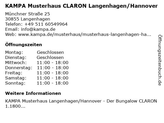 KAMPA Musterhaus CLARON Langenhagen/Hannover in Langenhagen: Adresse und Öffnungszeiten