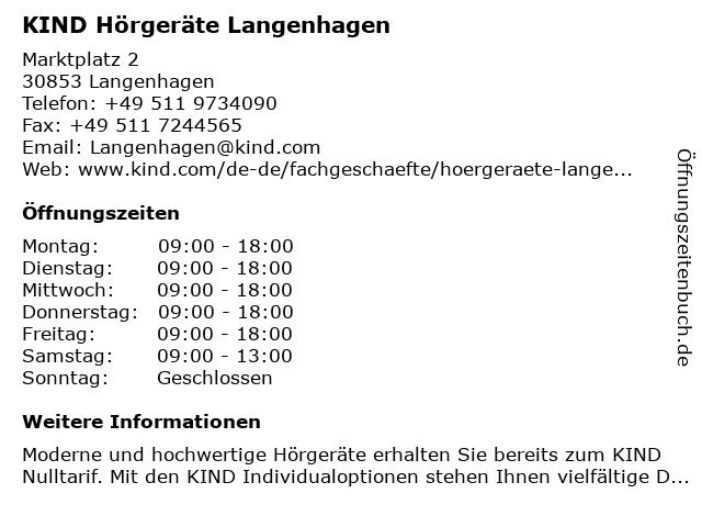 KIND Hörgeräte Langenhagen in Langenhagen: Adresse und Öffnungszeiten