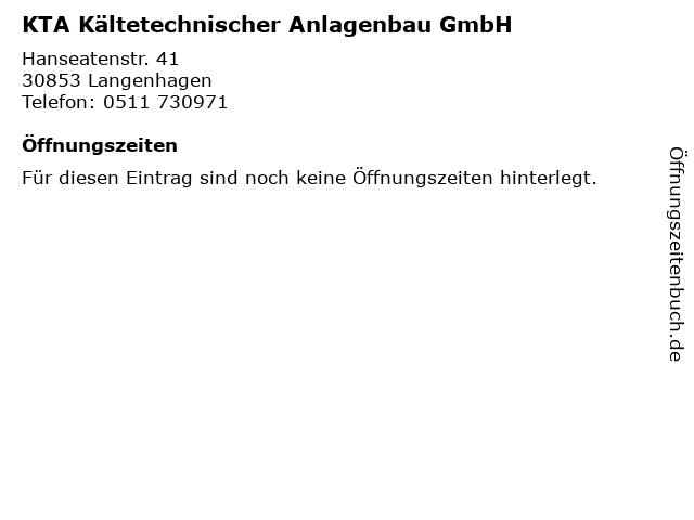 KTA Kältetechnischer Anlagenbau GmbH in Langenhagen: Adresse und Öffnungszeiten