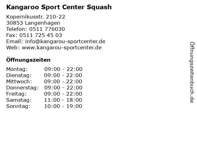 Kangaroo Sport Center Squash in Langenhagen: Adresse und Öffnungszeiten