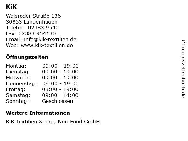 KiK Textilien & Non-Food GmbH in Langenhagen: Adresse und Öffnungszeiten
