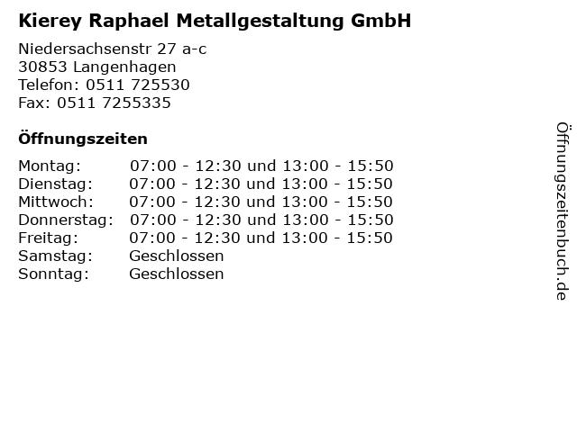 Kierey Raphael Metallgestaltung GmbH in Langenhagen: Adresse und Öffnungszeiten