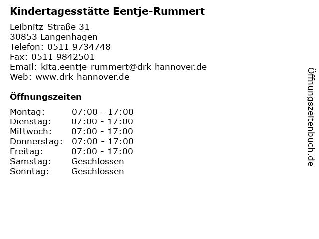 Kindertagesstätte Eentje-Rummert in Langenhagen: Adresse und Öffnungszeiten