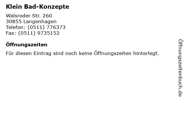 Klein Bad-Konzepte in Langenhagen: Adresse und Öffnungszeiten