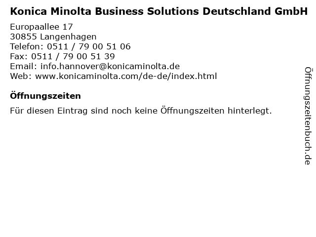 Konica Minolta Business Solutions Deutschland GmbH in Langenhagen: Adresse und Öffnungszeiten