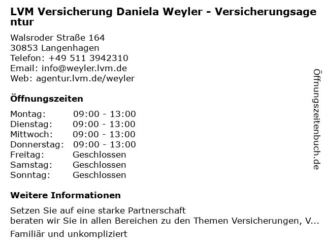 LVM Versicherung Daniela Weyler - Versicherungsagentur in Langenhagen: Adresse und Öffnungszeiten