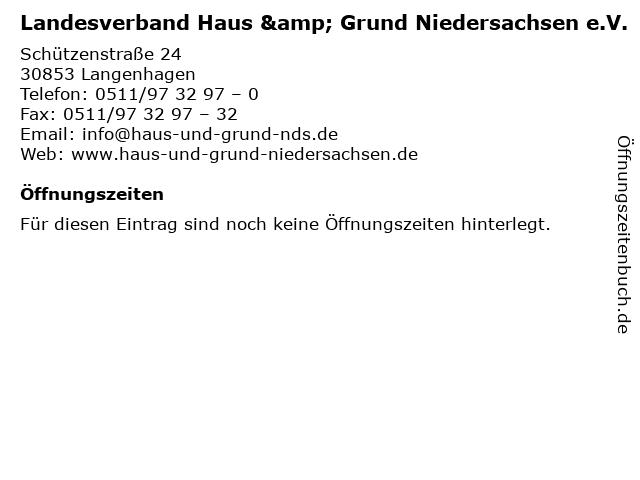 ᐅ öffnungszeiten Landesverband Haus Grund Niedersachsen Ev