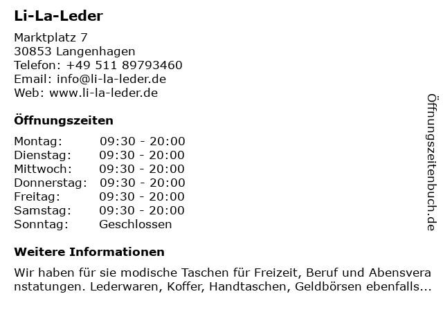 Li-La-Leder in Langenhagen: Adresse und Öffnungszeiten