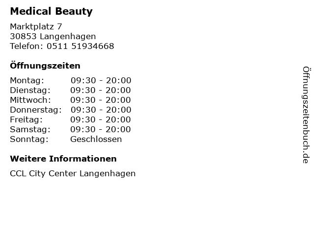 Medical Beauty in Langenhagen: Adresse und Öffnungszeiten