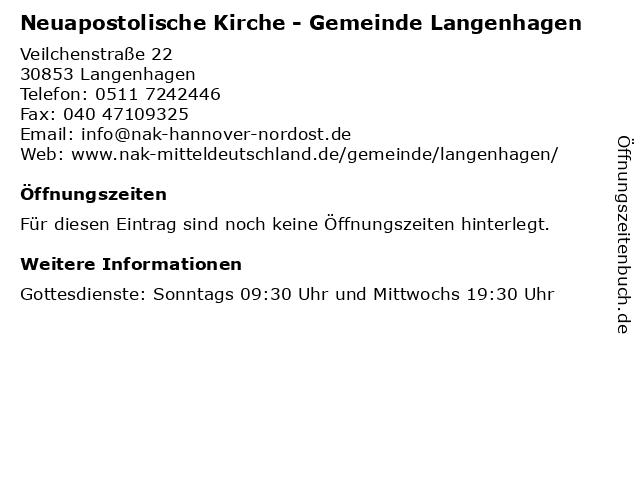 Neuapostolische Kirche - Gemeinde Langenhagen in Langenhagen: Adresse und Öffnungszeiten