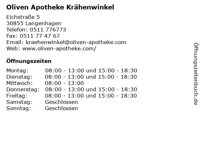 Oliven Apotheke Krähenwinkel in Langenhagen: Adresse und Öffnungszeiten