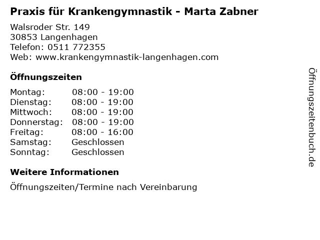 Praxis für Krankengymnastik - Marta Zabner in Langenhagen: Adresse und Öffnungszeiten