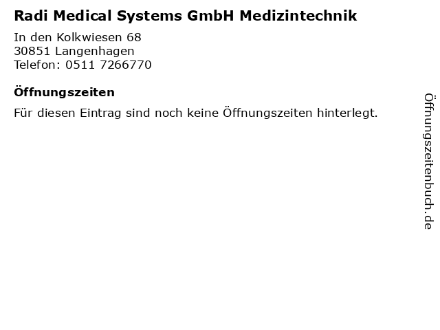 Radi Medical Systems GmbH Medizintechnik in Langenhagen: Adresse und Öffnungszeiten