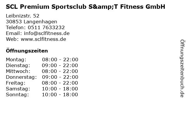 SCL Premium Sportsclub S&T Fitness GmbH in Langenhagen: Adresse und Öffnungszeiten