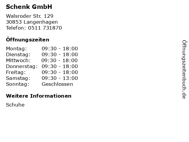 Schenk GmbH in Langenhagen: Adresse und Öffnungszeiten