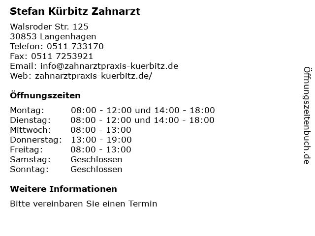 Stefan Kürbitz Zahnarzt in Langenhagen: Adresse und Öffnungszeiten