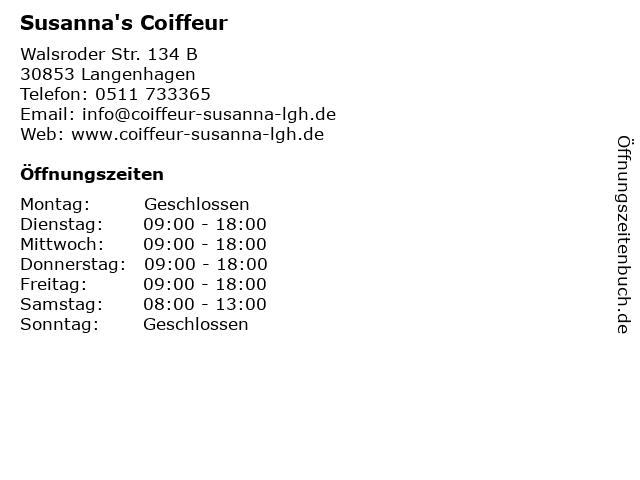 Susanna's Coiffeur in Langenhagen: Adresse und Öffnungszeiten