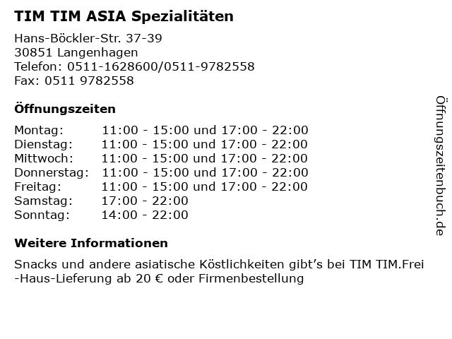TIM TIM ASIA Spezialitäten in Langenhagen: Adresse und Öffnungszeiten