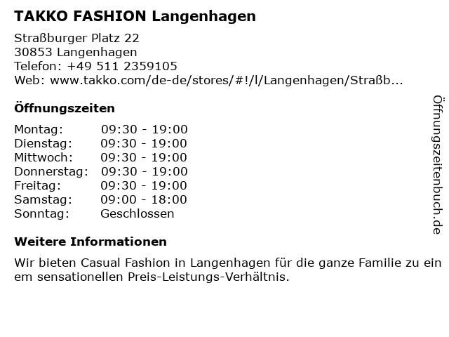 Takko Fashion in Langenhagen: Adresse und Öffnungszeiten
