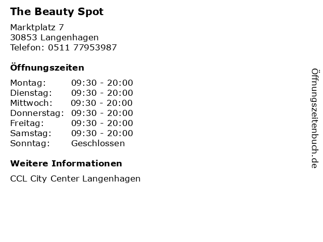 The Beauty Spot in Langenhagen: Adresse und Öffnungszeiten