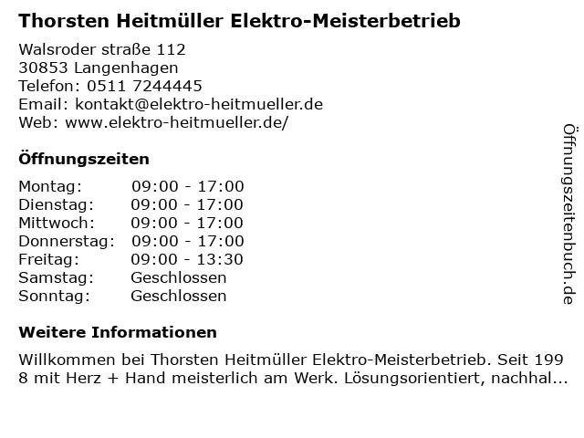 Thorsten Heitmüller Elektromeisterbetrieb in Langenhagen: Adresse und Öffnungszeiten
