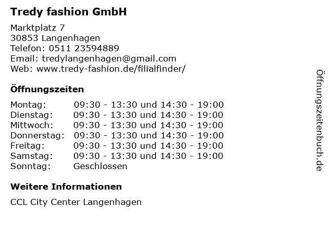 Tredy fashion GmbH in Langenhagen: Adresse und Öffnungszeiten