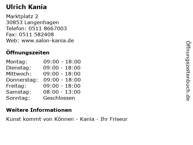 Ulrich Kania in Langenhagen: Adresse und Öffnungszeiten