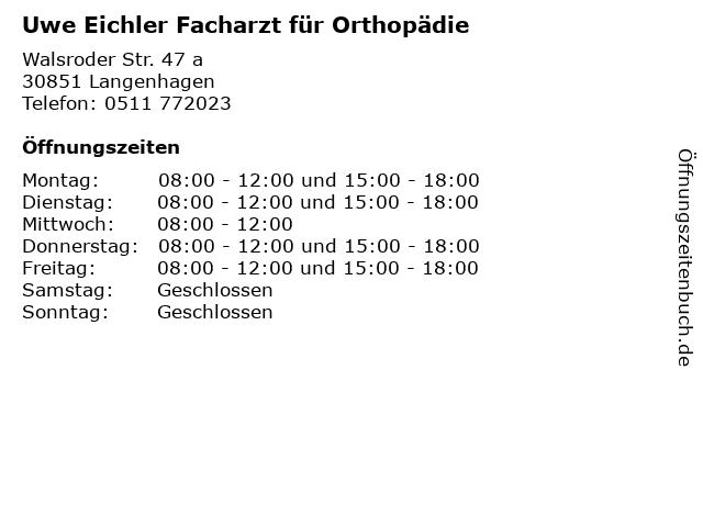 Uwe Eichler Facharzt für Orthopädie in Langenhagen: Adresse und Öffnungszeiten