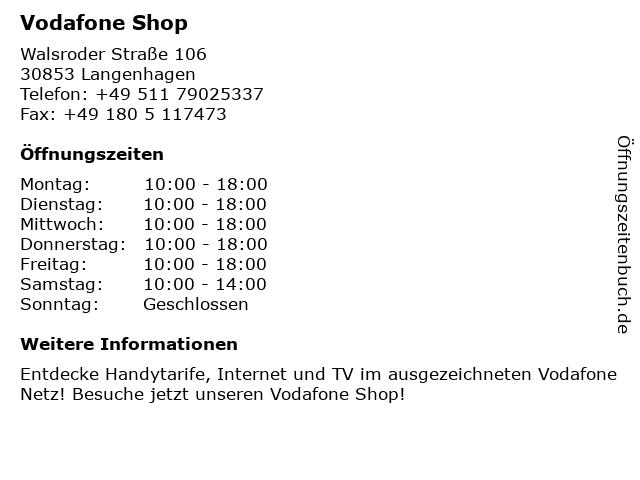 Vodafone Shop in Langenhagen: Adresse und Öffnungszeiten