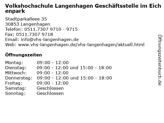 Volkshochschule Langenhagen Geschäftsstelle im Eichenpark in Langenhagen: Adresse und Öffnungszeiten